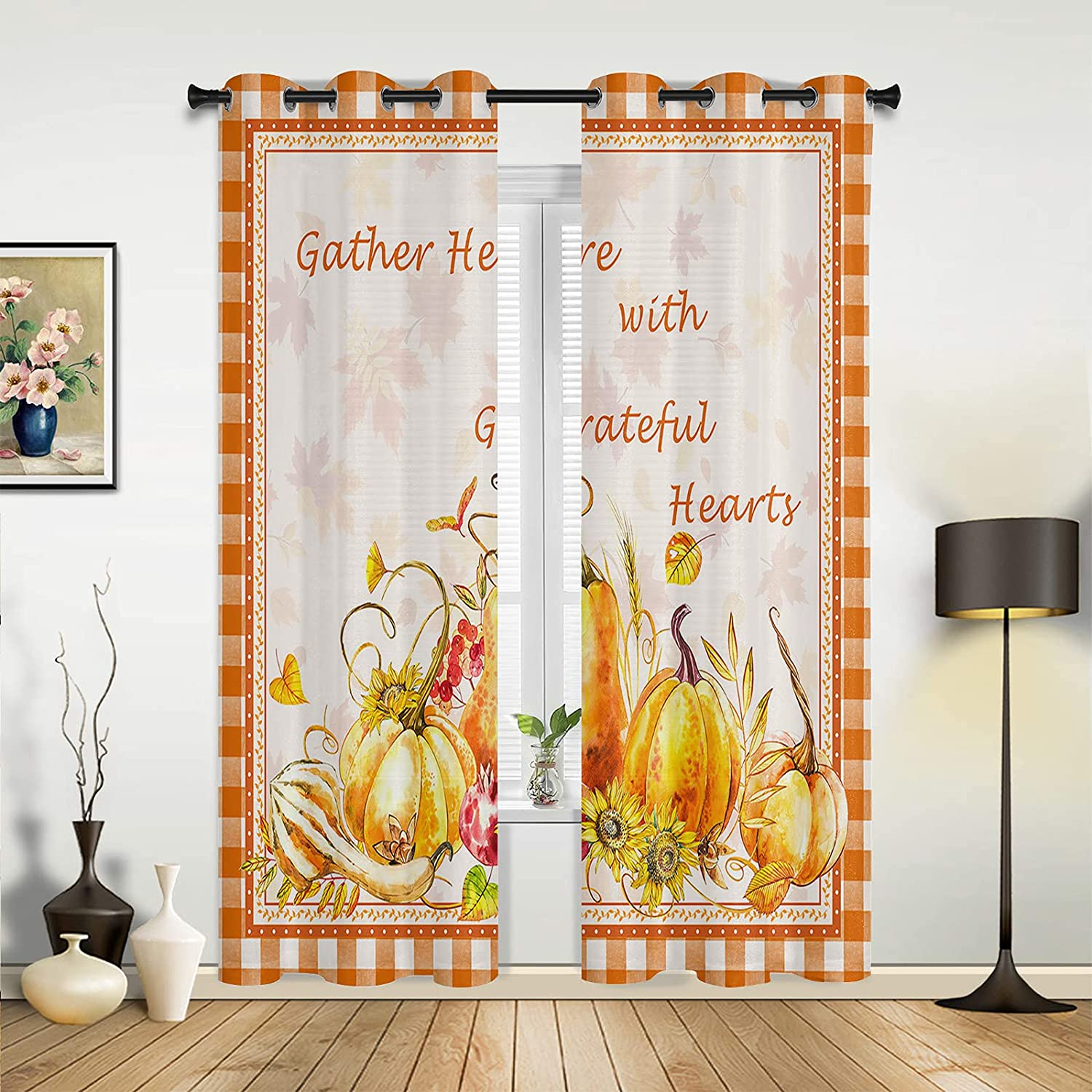 Window Columbus Mall Sheer Curtains for Bedroom Max 56% OFF Happy Room Living Thanksgiving