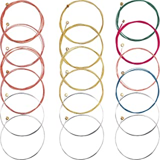 Bememo 3 Sets of 6 Acoustic Guitar Strings Replacement Steel String for Guitar, 1 Set Brass 1 Set Copper and 1 Set Multicolor