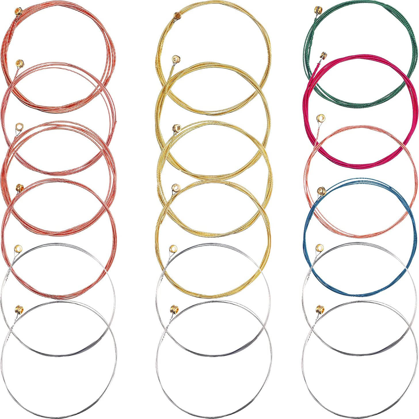 Bememo 3 Sets of 6 Guitar Strings Replacement Steel String for Acoustic Guitar (1 Brass Set, 1 Copper Set and 1 Multicolor Set)