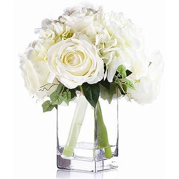Home Furniture Diy Artificial Silk Flower Arrangement Red Cream Flowers In Cream Small Slim Vase Gronn Com Br