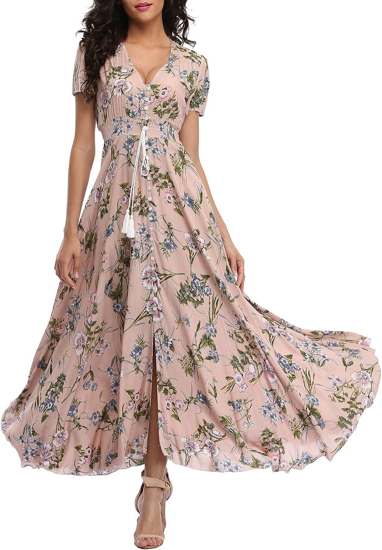 Award-winning store VintageClothing Women's Floral Maxi Dresses Button Up Boho Store Split
