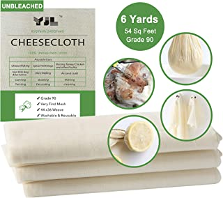 Unbleached Cheesecloth for Straining 100% Cotton Grade 90 Cheesecloth Natural Fine Cheesecloth | 6 Yard Cheesecloth for Cooking | Straining | Canning | Steaming and Reusable Cheesecloth of 54Sq Feet