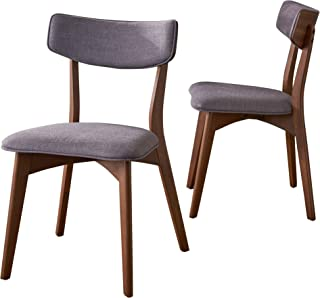 Christopher Knight Home Molly Mid Century Modern Dark Grey Fabric Dining Chairs with Natural Walnut Finished Rubberwood Frame (Set of 2)