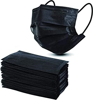 Straame 50pack 3 Ply Disposable Face Masks | Breathable Face Mask (Black)