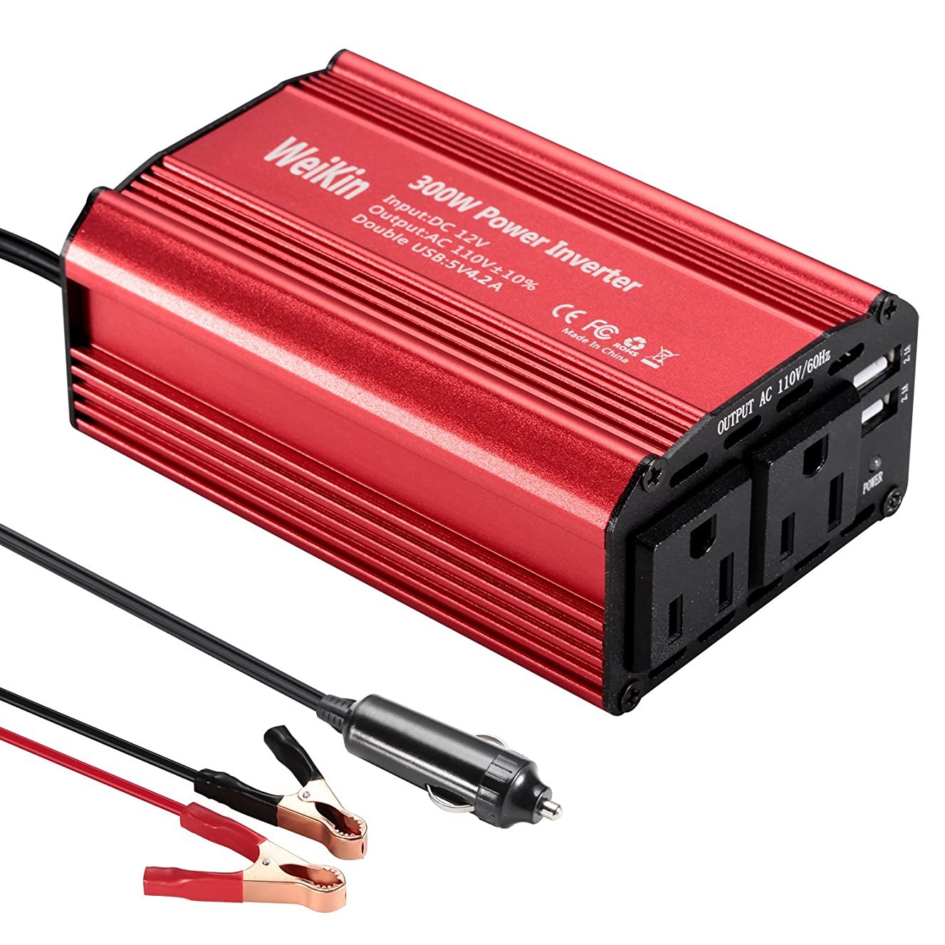 WEIKIN Car power inverter 300 Watt DC 12V to AC 110V peak 600 Watt for Vehicle power converter