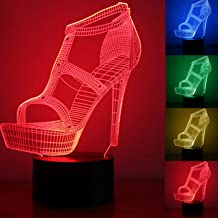 Fashion 3D High Heels Night Light USB Touch Switch Decor Table Desk Optical Illusion Lamps 7 Color Changing Lights LED Table Lamp Xmas Home Love Brithday Children Kids Decor Toy Gift