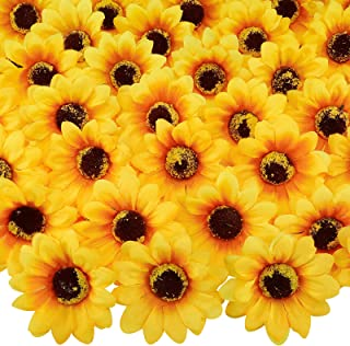 CEWOR 150pcs 3 Inches Artificial Sunflower Heads Silk Sunflower Fake Fabric Flowers for Wedding Decoration Bridal Bouquet ...