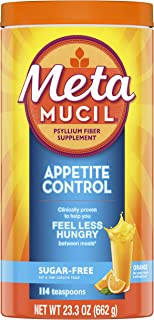 Metamucil Appetite Control Fiber, 4-in-1 Psyllium Fiber Supplement, Sugar Free Powder, Orange Zest Flavored Drink, 57 Serv...