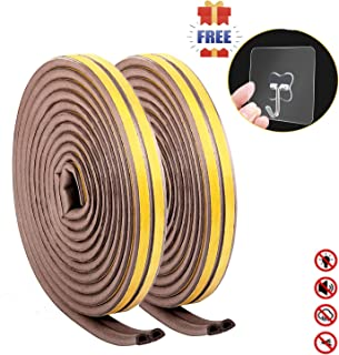 Door Seal Weather stripping for Doors- Camel Home Self Adhesive Foam Window Seal Strip Soundproof Draft Stopper Noise Gaps Blocker Anti-Collision Weatherproof 2 Seals(D Shape 2Pack 12m, Brown)