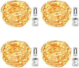 TingMiao 4 Pack 32.8 Feet 100 Led Fairy Lights Battery Operated with Remote Control Waterproof Copper Wire String Lights for Indoor Decorative Lights ,Warm White