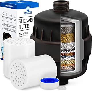 15 Stage Bronze Shower Filter with Vitamin C for Hard Water - 2 Cartridges Included - Shower Water Filter Removes Chlorine - Reduces Flouride and Chloramine - For Showerhead and Filtered Shower Head