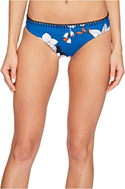 Red Carter Plumeria Full Coverage Reversible Hipster Bikini Bottom