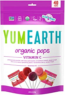 YumEarth Organic Vitamin C Lollipops, 40 lollipops per Pack, 8.7 Ounce (Pack of 1) - Allergy Friendly, Non GMO, Gluten Fre...