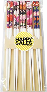 Happy Sales 5 Pairs Chopsticks Flower & Leaves Design White #7179
