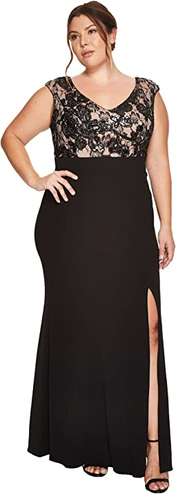 Adrianna Papell - Plus Size Cap Sleeve Long Gown with Lace Bodice