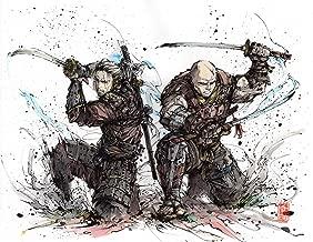 10x8 PRINT Samurai Duo- ready to fight- Geralt and Letho samurai parody