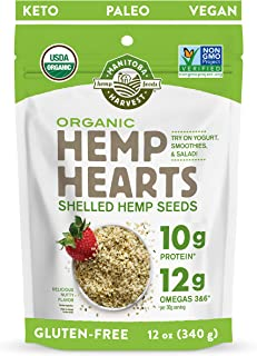 Manitoba Harvest Organic Hemp Hearts Shelled Hemp Seeds, 12 Ounce (Pack of 1); with 10g Protein & 12g Omegas per Serving, ...