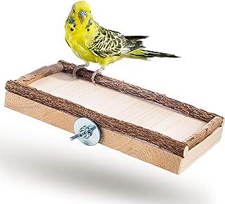 Super Siège Planche 20x10cm avec bois naturel pour perruche calopsitte| platforme pour Cage a Oiseaux perroquet| plateau, ...