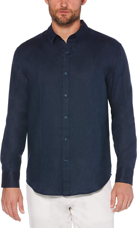 Cubavera Men's Big and Tall Long Sleeve 100% Linen Essential Shirt with Pintuck Detail