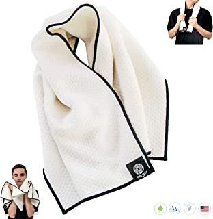 Organic Cotton Soft Bamboo Extra Absorbent Gym/Yoga Hand & Face Towel 15 X 35 Inch Travel Sweat Cloth Premium Eco, Safe Wash Care for Drying Men's & Women's Sensitive Skin Made in USA Natural/Blac