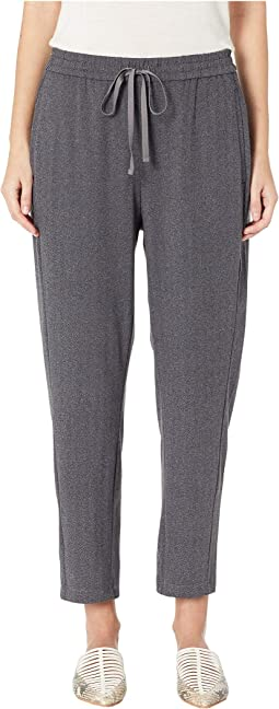 Herringbone Polyester Stretch Drawstring Slouchy Pants