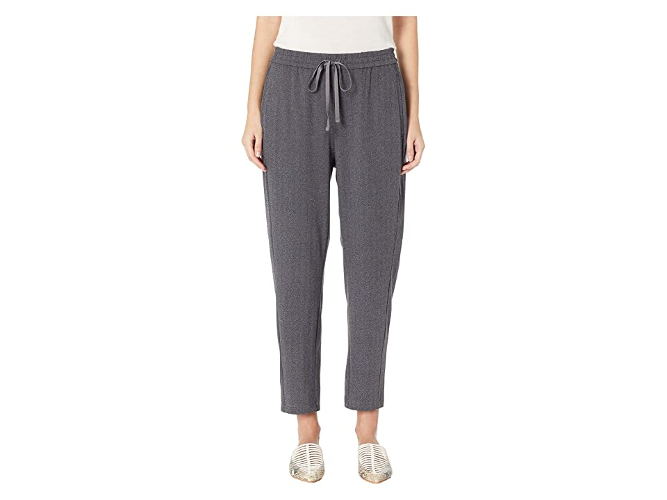 Eileen Fisher Herringbone Polyester Stretch Drawstring Slouchy Pants (Charcoal) Women