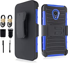 Compatible for Alcatel TCL LX (A502DL) Case, Alcatel IdealXtra Case, Alcatel 1X Evolve, 6goodeals Hybrid Holster Shockproof Kickstand and Belt Clip Heavy Duty Case [with Accessory] (Blue)