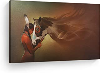 SmileArtDesign Indian Wall Art Native American Girl and Horse Love Canvas Print Home Decor Decorative Artwork Gallery Wrapped Wood Stretched and Ready to Hang -%100 Handmade in The USA - 8x12
