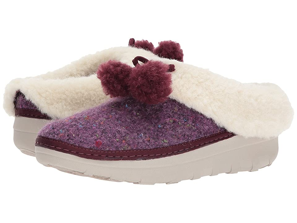 FitFlop Loaff Snug Pom Slippers (Deep Plum) Women