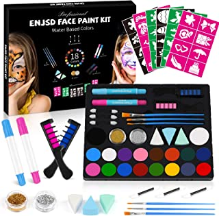 Face Paint Kit for Kids - 50 Stencils, ENJSD Halloween Makeup Kit 18 Large Water Based Paints, 2 Hair Chalks 3 Eyeshadow S...