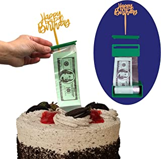 Money Cake Dispenser Box, Cake Money Pull Out Kit, Surprise Box, Money Cake Set includes 2 plastic rolls (50 pockets each) and Happy Birthday or Card Holder Topper