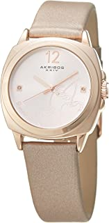 Akribos XXIV AK902 Women's Quartz Stainless Steel and Leather Casual Watch with Cherry Etched Imprint