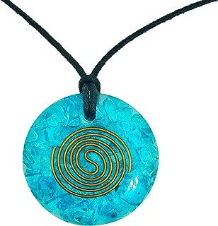 Pura Esprit Orgonite Orgone Pendant- Handmade Aquamarine Orgone Energy Generator Chakra Healing Natural Crystal Pendant Necklace for – Emf Protection Reiki Healing Meditation Jewelry