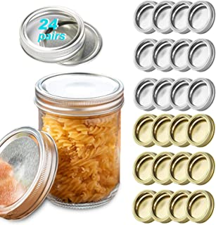 CMHSP 24 Pcs Canning Lids + 24 Pcs Bands, Regular Mouth Mason Canning Lids and Rings, Leak Proof and Secure Metal Caps for...