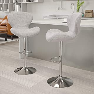 Flash Furniture 2 Pack Contemporary Gray Fabric Adjustable Height Barstool with Curved Back and Chrome Base