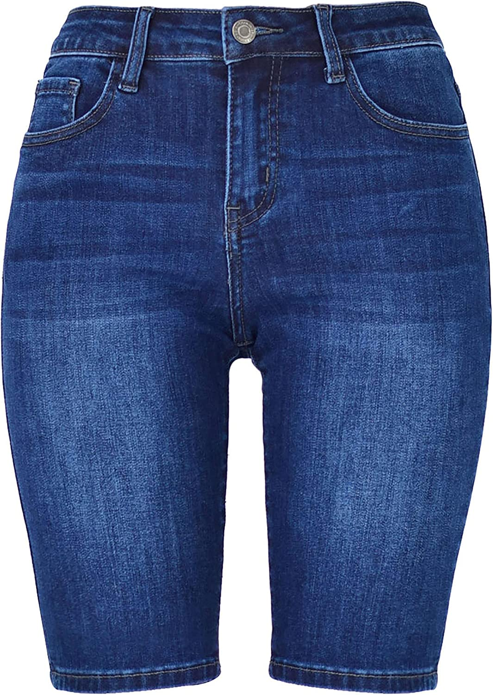 GUOGUOWU Women's Bermuda Shorts Stretch Denim overseas W Jeans Indianapolis Mall for