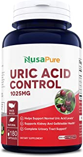 Uric Acid Control 180 caps (Non-GMO & Gluten Free) Supports Normal Uric Acid Level - with Wild & Black Cherry, Devils Claw, Yarrow, White Willow