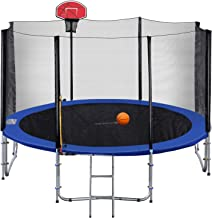 Exacme Outdoor Trampoline with Basketball Hoop Orange and Enclosure Ladder Hight Weight Limit 8 10 12 13 14 15 16 Foot