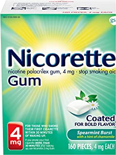 Nicorette Nicotine Gum to Quit Smoking, 4 mg, Spearmint Flavored Stop Smoking Aid, 160 Count (Pack of 1)