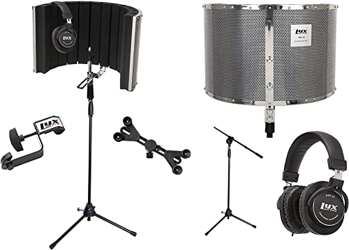 2021 LyxPro VRI 20 Portable Isolation Instrument online Shield, Sound Absorbing Panel with Tripod Microphone Stand, Universal Smartphone Tablet online Holder Detachable Clip & Studio Monitor Professional Headphones outlet sale