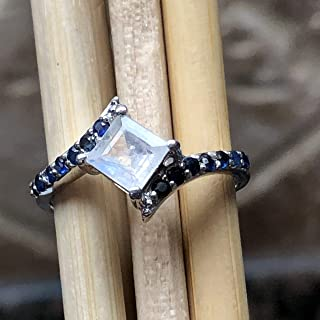 Natural Rainbow Moonstone, Blue Sapphire 925 Sterling Silver Engagement Ring Size 6, 7.75, 8, 9