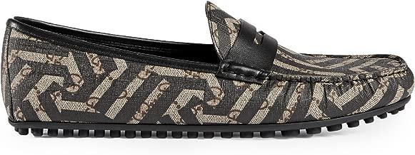 Gucci Men's GG Supreme Caleido Driver Loafer, Beige/Black 429357