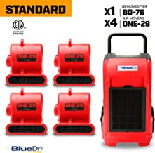 BlueDri Standard Pack 1 Water Damage Restoration Equipment, 4X Air Movers Carpet Dryer Floor Blower Fan, 1x Industrial Commercial Dehumidifier, Red