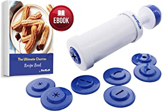 Churrera Churro Maker by StarBlue with FREE Recipe e-Book - Easy tool for deep dry churro in 8 difference shapes
