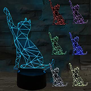 Cute Cat 3D Optical Night Light, Easter Day Gift Touch Switch 7 LED Color Changing Desk Lamp with USB, Home Decoration, Birthday Christmas Gift for Children (7 Color)