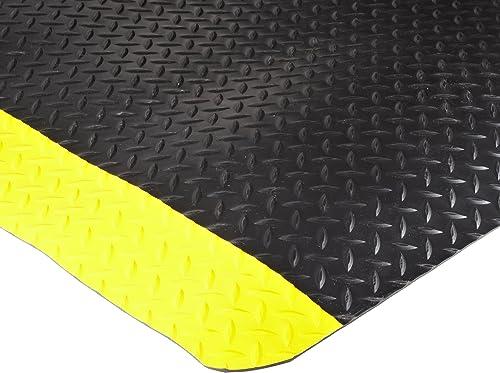 Durable Vinyl Heavy Duty Diamond-Dek Sponge Industrial Anti-Fatigue Floor Mat, 3' x 5', Black with Yellow Border