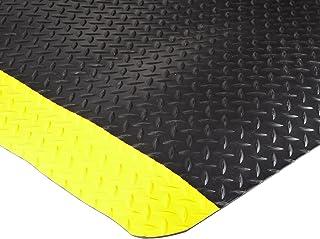 Durable Vinyl Heavy Duty Diamond-Dek Sponge Industrial Anti-Fatigue Floor Mat, 3` x 5`, Black with Yellow Border