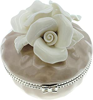 Value Arts Porcelain White Roses On Beige Trinket Box, 2.5 Inches Diameter