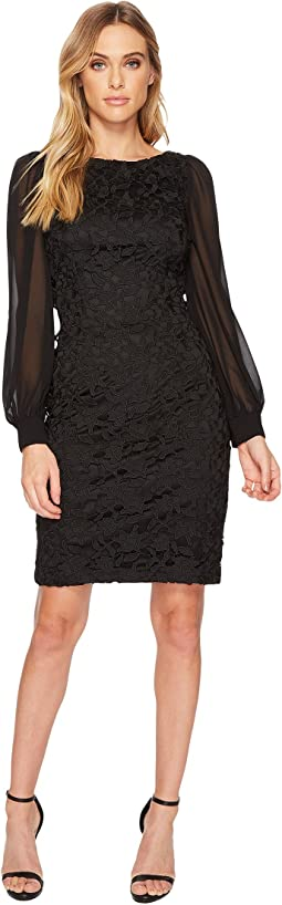 Adrianna Papell Bishop Sleeve Ava Lace Sheath Dress