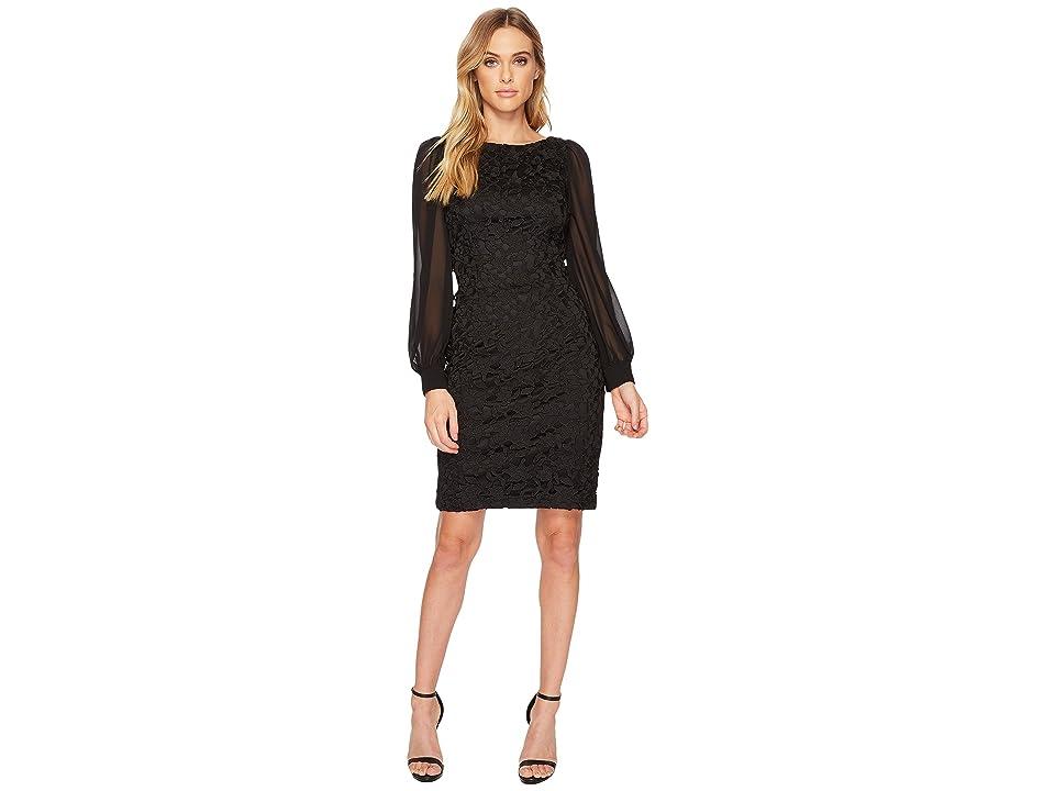 Adrianna Papell Bishop Sleeve Ava Lace Sheath Dress (Black) Women